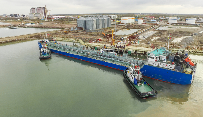 The first cargo of edible oil entered to Gilan province and berthed on Caspian port complex.